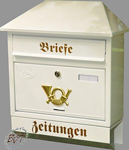 BTV Großer Briefkasten, mit Rostschutz Walmdach W/w weiß schneeweiß Snow White Zeitungsfach Zeitungsrolle Postkasten
