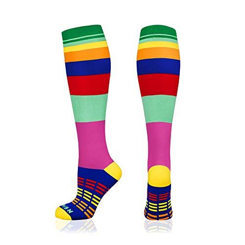 NEWZILL SWAG Compression Socks (20-30mmHg) for Men & Women, BEST Graduated Athletic Fit for Running, Nurses, Edema, Diabetic, Shin Splints, Flight Travel & Pregnancy (Swag Rainbow, Small)