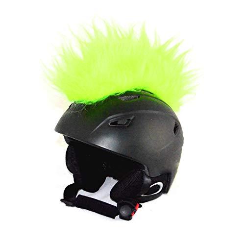 Helm-Irokese für den Motorradhelm, Crosshelm, Motocrosshelm oder Skihelm - verwandelt den Helm in ein EINZELSTÜCK - der HINGUCKER - Irokesenaufsatz Punk - Helm-Aufkleber (Neon-Gelb)