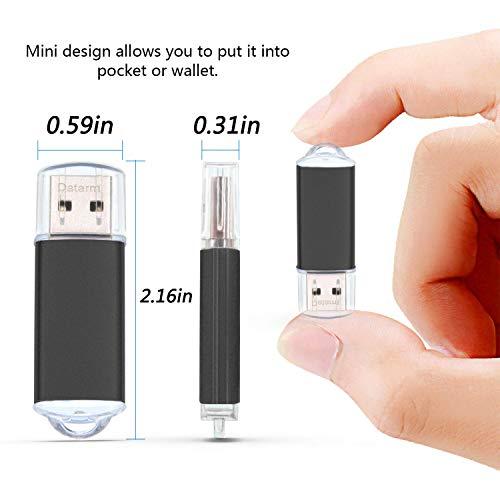 USB Sticks 8GB 5 Stück USB Flash Laufwerke - Metall 8 GB Speicherstick Tragbar USB Memory Stick - Datarm Portabel Schwarz USB 2.0 Flash Drive mit Kappe Pendrive Geschenk für Kinder