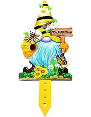 TSBB VIVIXIXILAOJH Spring Bee Flower Butterfly GNOME Peep Yard Sign con estacas Decoraciones de jardín