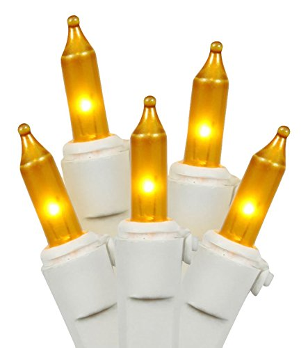 Vickerman Mini Light Set Features 100 Bulbs Lights on White Wire and 4' Bulb Spacing for Indoor/Outdoor Use, 33', Gold