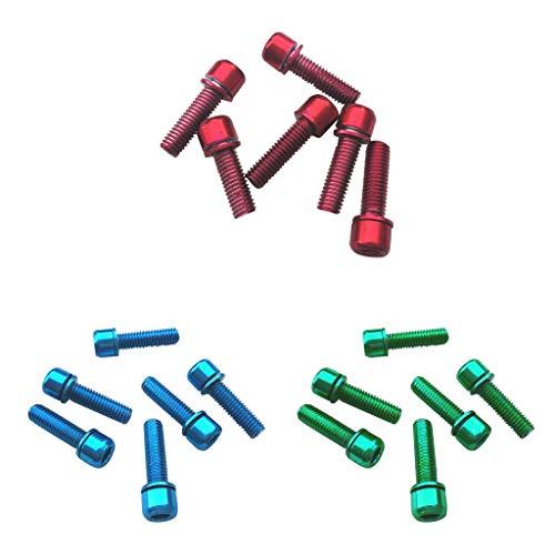 Milageto Tornillos Hexagonales de 18 Piezas para Bicicleta de Carretera MTB, Tornillos de Acero Al Carbono para Rejilla Trasera