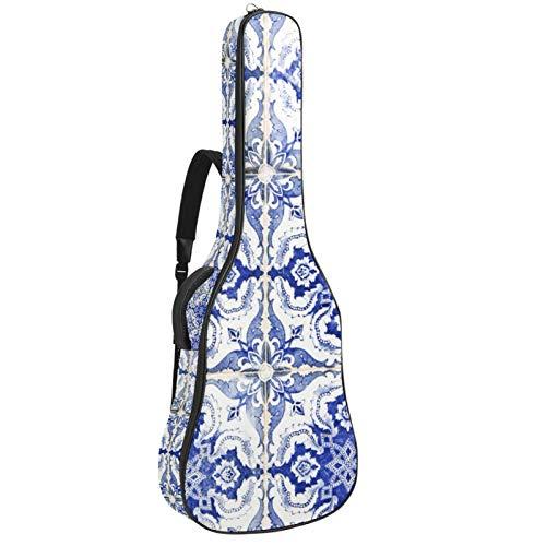 Portugués Azulejo Casa Pared Resistente al Agua Tela Oxford Doble Cosido Correas Acolchado Bolsa de Guitarra Bolsa de Transporte para 40 41 42 Pulgadas Guitarra Clásica Acústica Folk