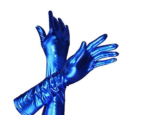 HAAC Handschuhe lang glänzend dunkelblau blau Fasching Karneval