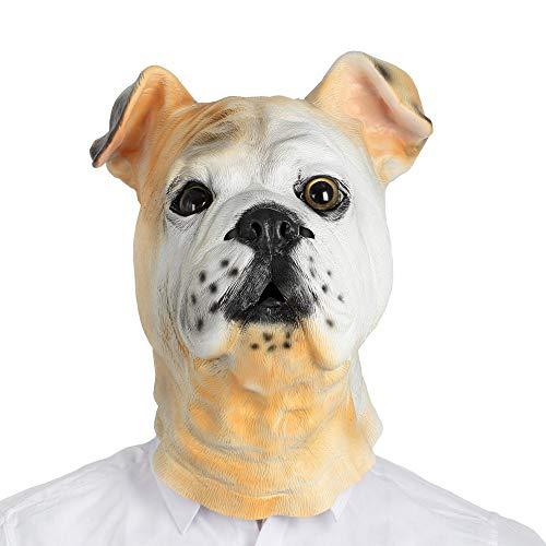 MASCARELLO Realistisches Tier Britische Bulldogge Kopf Latexmaske Haustier Hund Kostüm Party Karnevalsmaske