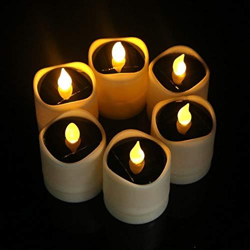 XHSHLID Waterdichte flikkerende led-nachtlampje, kaars, zonnelamp voor nachtlampje, romantische decoratie voor bruiloft, festival
