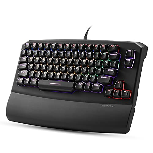 Lightsalt Kurve - 79 Keys Ergonomic Mechanical Keyboard, True RGB Backlit, Wired USB Keyboards with Magnetic Wrist Rest, Programmable Software and Macro Functionality - (Brown Switches, Black)