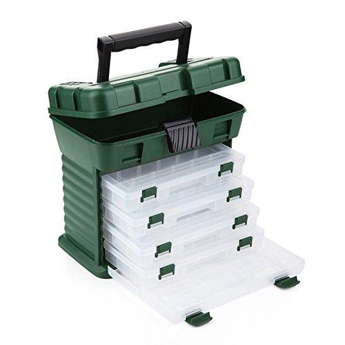 Gossip Boy Multifunktions-Angelzubehör-Aufbewahrungsbox mit 4 Schubladen und verstellbaren Trennwänden, Grün