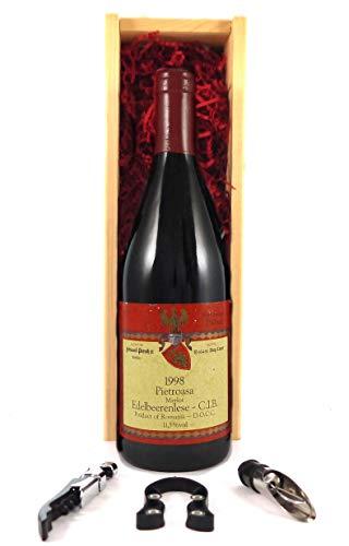 Pietroasa Merlot 1998 Edelbeerenlese en una caja de regalo con tres accesorios de vino, 1 x 750ml