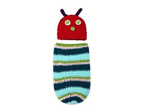 Bébé Cadeau bébé Creative souple en tricot Sac de couchage Caterpillar Style Sleepsacks Convient pour 0–3 mois