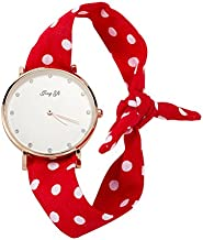 Factory Direct Supply Ribbon Watch Female Beach Fashion Decorative Watch Cross-Border Explosion Models Women's Quartz Watch Wholesale,Red with White Spots