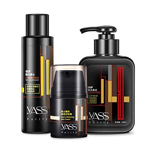 WT-DDJJK Crema Facial, 3 unids/Set, Crema para el Cuidado de la Piel para Hombres, tónico Limpiador, emulsión, Control de Aceite hidratante, poros retráctiles, Cuidado Facial Antiarrugas