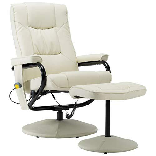 vidaXL Elektrischer Massagesessel mit Fußhocker Heizfunktion Fernsehsessel Relaxsessel Ruhesessel TV Sessel Liegesessel Creme Kunstleder