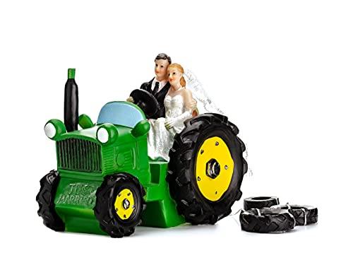 PartyDeco Hochzeitstorte Figur Braut und Bräutigam auf einem Traktor Hochzeit Dekoration Party...