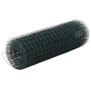 Tidyard Malla Alambre Malla Alambre Acero Cuadrado de Acero con Recubrimiento de PVC para Proteger Plantas y Animales Verde de Dimensiones Generales 10 x 0,5 m