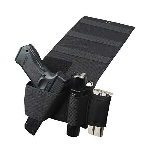 Tactical ajustable bajo colchón cama asiento vehículo coche pistola pistola pistola pistolera soporte Universal linterna táctica con Loop, Negro