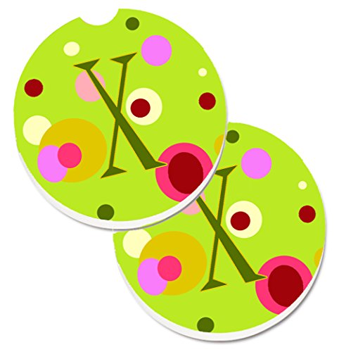 Caroline tesoros de la letra X Monogram–verde lima juego de 2cup Holder coche posavasos cj1010-xcarc, 2,56, multicolor