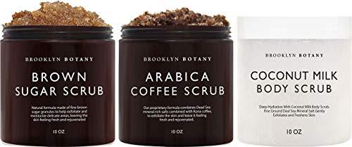 Brooklyn Botany Brown Sugar Body Scrub, Coffee Scrub and Coconut Milk Body Scrub – Exfoliating Body Scrub – Anti Cellulite Scrub Helps Fight Stretch Marks, Cellulite, Veins, and Eczema –Gift for Women