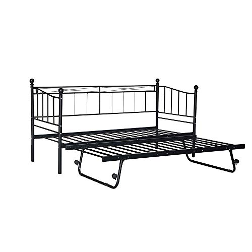 Panana 3FT Metal Daybed Guest Bed Trundle Bed For Guest Room Children Bedroom (Black Daybed+Trundle)