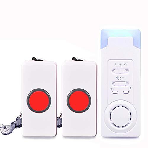 ALEENFOON InaláMbrico Buscapersonas Personas Mayores BotóN De Llamada Alarma InaláMbrica Hogar Beeper Sistema De Alarma para Casa Alerta Seguridad Alarma Llamada De Emergencia, 2 in 1