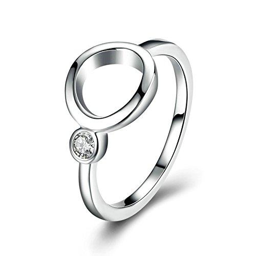 Beydodo Silberring Vergoldet Ring für Damen Hohl Rund Kreis Weiß Zirkonia Freundschaft Hochzeitsringe Trauring Silber für Damen Weihnachtsgeschenke