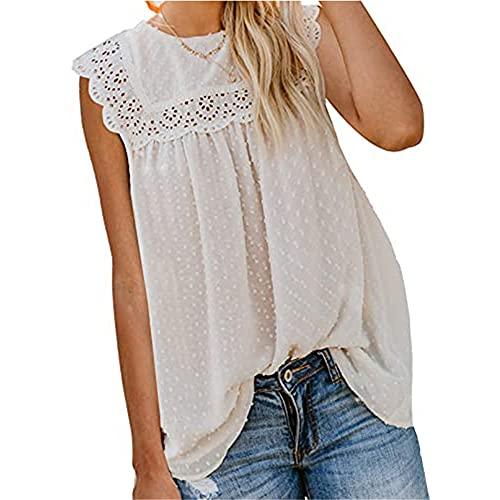 Blusa Mujer Dulce Cuello Redondo Ahueca hacia Fuera Gasa Color Sólido Pom Mujer Camiseta Sin Mangas Temperamento Juguetón Transpirable Exquisita Simplicidad De Moda Mujer T-Shirt A-White S