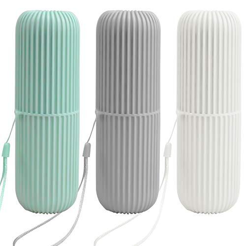 Pinsheng Estuche de cepillo de dientes de viaje 3 piezas, soporte de pasta de dientes de plástico, soporte de pasta de dientes portátil multifunción para viajes de negocios