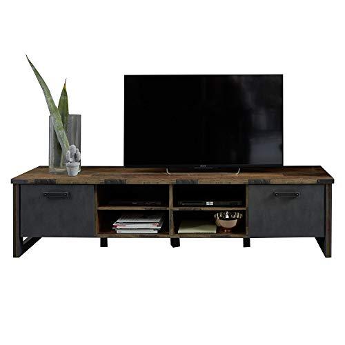 trendteam smart living Wohnzimmer Lowboard Fernsehschrank Fernsehtisch Prime, 207 x 52 x 42 cm Front und Korpus Oldwood, Absetzung Matera mit viel Stauraum