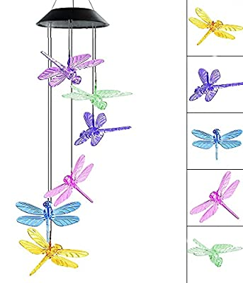 VEEKI Solar Dragonfly Wind Chimes Outdoor Color-Changing Wind Chime Waterproof Hanging Wind Chime Solar Powered LED Wind Chimes Lights for Outdoor Garden Corridor Decoration