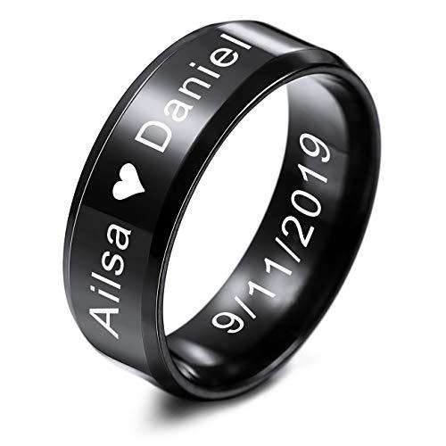 MeMeDIY FEDI Nuziali per Uomo per Fasce da Donna in Acciaio Inossidabile per Ragazze, con Regolatore della Dimensione Dell'anello - Incisione Iersonalizzata (Nero Colore, 8.0mm Larghezze, 17 Taglie)