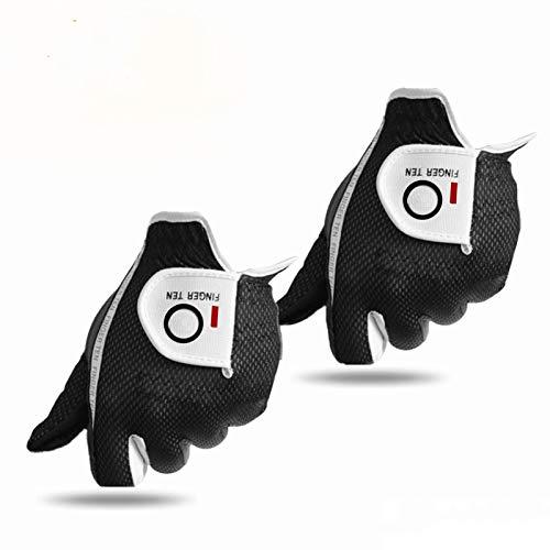 FINGER TEN Golfhandschuh Herren Linke Hand Rechte 2 Stück (Not Paar) Allwetter Mikrofaser Rain Grip Golf Handschuh Links Rechts Grau Schwarz Grün Weicher Komfort Passform Größe Schwarz XL Linken
