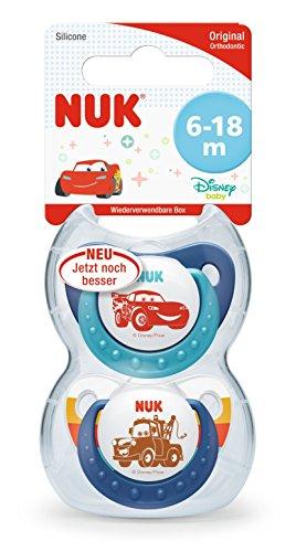 NUK Disney Pixar Cars Trendline Schnuller, kiefergerechte Form, 6-18 Monate, 2 Stück, blau