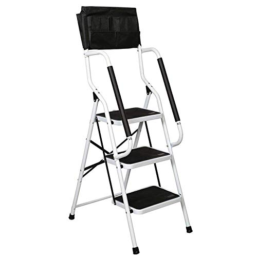 charaHOME 3 Step Ladder Step Stool 500 lb Capacity Folding Portable Ladder Steel Frame with Safety Side Handrails Non-Slip Wide Pedal Kitchen and Home Stepladder with Attachable Tool Bag