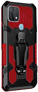 Back Cover For Oppo A15 Case Heavy Duty Dual Layer Armor Defender Silicone Kickstand Case - Black & Red