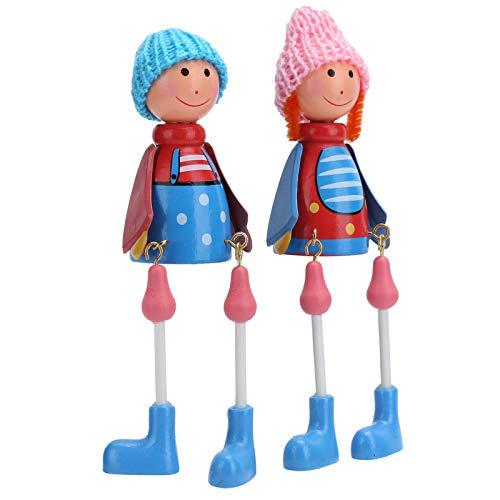 Adorno de muñeca colgante, marioneta de madera segura duradera de dibujos animados, decoración de mesa, decoración del hogar, para regalo de fiesta, regalo de cumpleaños