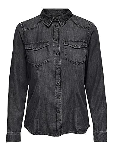 Only ONLROCK IT Life DNM LS Shirt Noos Camisa, Black Denim, L para Mujer