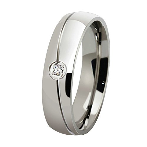 AmDxD Schmuck Damen Ringe Edelstahl (mit Gratis Gravur) Einzeln Weiß Zirkonia Ehering Silber Größe 54 (17.2)