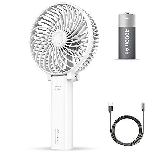 EasyAcc USB Ventilator,4000mAh Leise Mini Handventilator/Tragbarer Lüfter Elektrischer Aufladbarem Batterie Faltbar Kompatibel mit Laptop Multi Port Steckdose für Reisen und Zuhause Outdoor(Weiß)