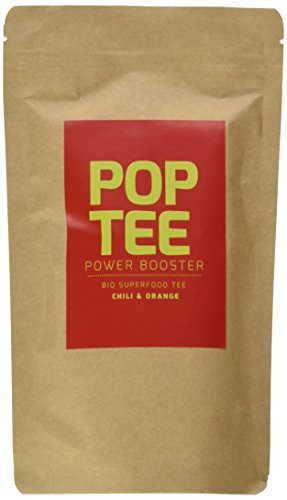 POP TEE Chili und Orange Tüte, Grüner, Superfood, Power Booster, 2er Pack (2 x 60 g)
