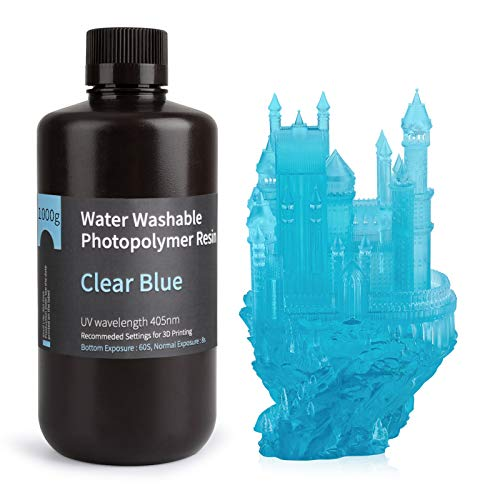 ELEGOO Stampante 3D lavabile in acqua Resina rapida LCD Resina fotopolimerizzante UV 405nm Resina fotopolimerica standard per stampa 3D LCD 1000gGram Blu chiaro