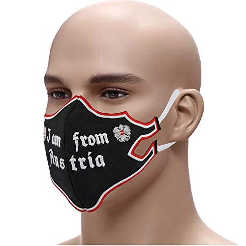 Designer Schutzmaske I AM from Austria Edel gestickter Mundschutz Gesichtsmaske 60° waschbar