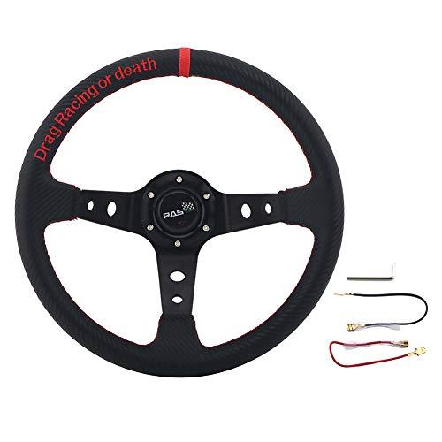 Volante de carreras, Trpambvia Universal 345 mm Volante de carreras para juegos Volante deportivo de cuero de PU de aluminio Volante a la deriva Volante negro de carcasa profunda 6 pernos