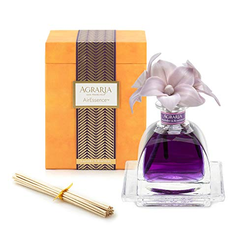 AGRARIA Lavender & Rosemary Scented AirEssence Diffuser, 7.4 Ounces with Reeds and Flowers