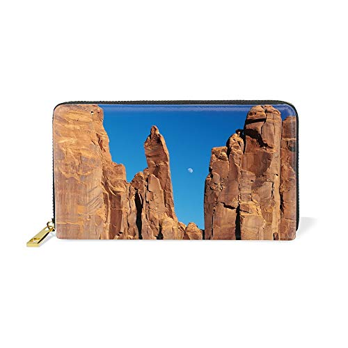 Women's Canyons Rocks Moon Sky Crack Real Leather Zip Around Wallet Clutch Large Travel Purse
