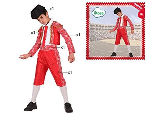 LEMON TREE SL Disfraz de 5 Piezas para Carnaval Infantil niño de Torero Color Rojo Talla 5/6 años de niño y niña. Cosplay niño Carnaval.