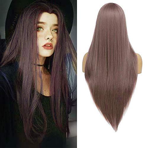 YMHPRIDE Lila lange gerade gerade Perücken für Frauen natürlich aussehende Mittelteil-synthetische Haarperücke mit Perückenkappe (24 Zoll)