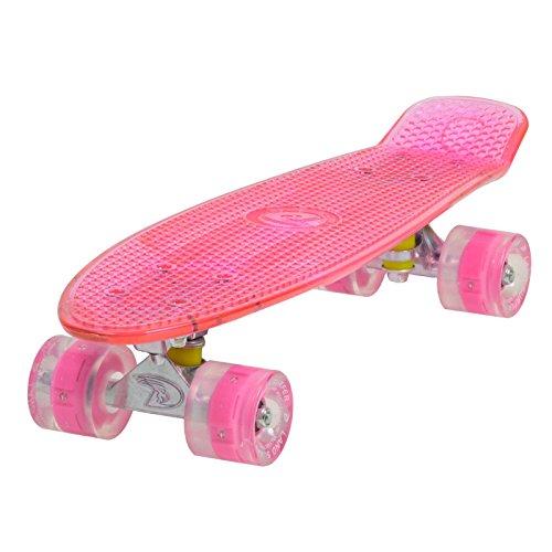 LAND SURFER Skateboard Cruiser Retro Completo 56cm con tavola rosa trasparente – cuscinetti ABEC-7 – Ruote rose LED che si illuminano 59mm PU + borsa per il trasporto