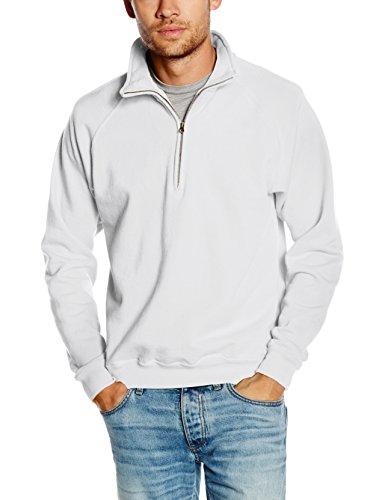 Fruit Of The Loom Herren Premium 70/30 Sweatshirt mit Reißverschluss am Kragen (L) (Weiß)