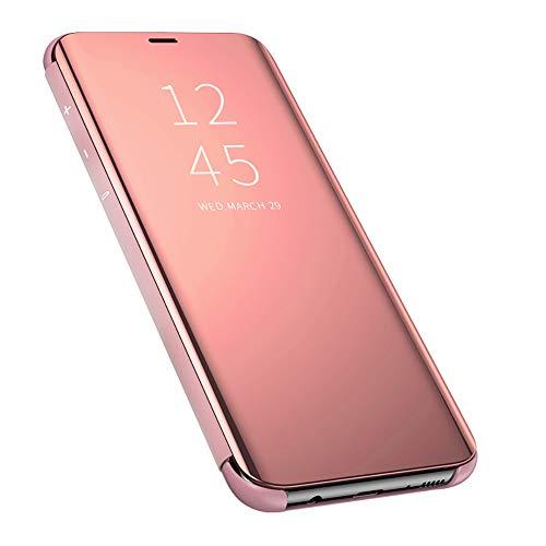 QBER para XiaoMi RedMi Note 8 Funda,360°Protectora Smart Flip Cover Stand Function Mirror Brillante tirón del Caso Duro con para XiaoMi RedMi Note 8-Oro Rosa